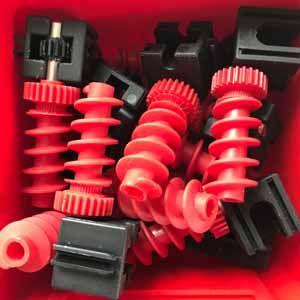 Getriebehalter + Schnecke m1,5 mini schwarz rot