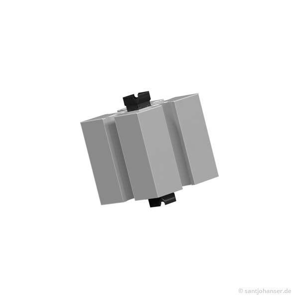 Baustein 15 mit 2 Zapfen, grau