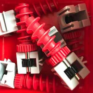 Getriebehalter + Schnecke m1,5 mini grau rot